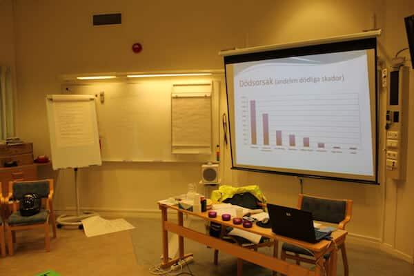 En bild från salen från riskutbildning för mc del 1 även kallad riskettan